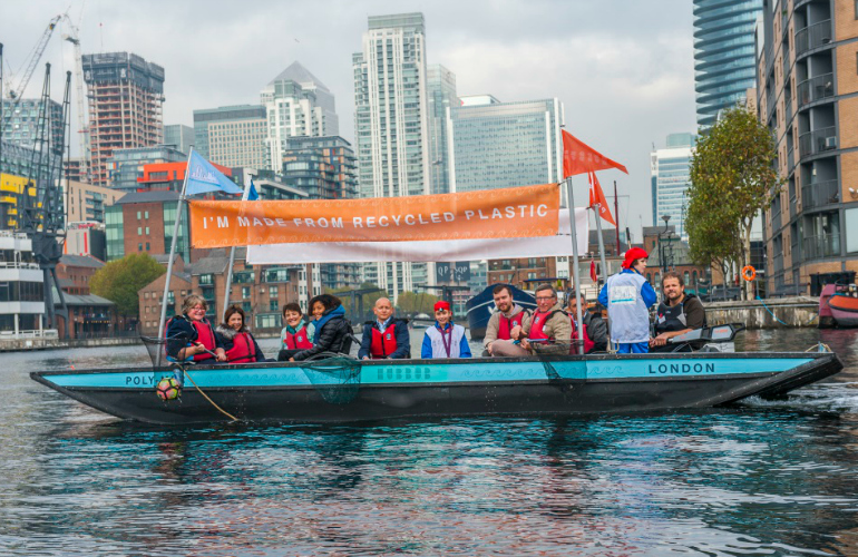 Charity launches world's first recycled plastic boat